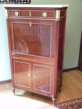 restauration secretaire epoque louis 16 placage acajou ebeniste normandie